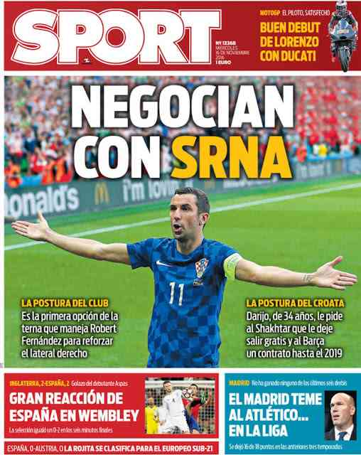 «Барселона» неотказалась отидеи приобретения Дарио Срна
